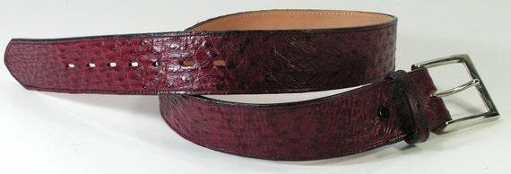 ostrich skin western belt size 28 small burgundy cowboy cowgirl leather justin