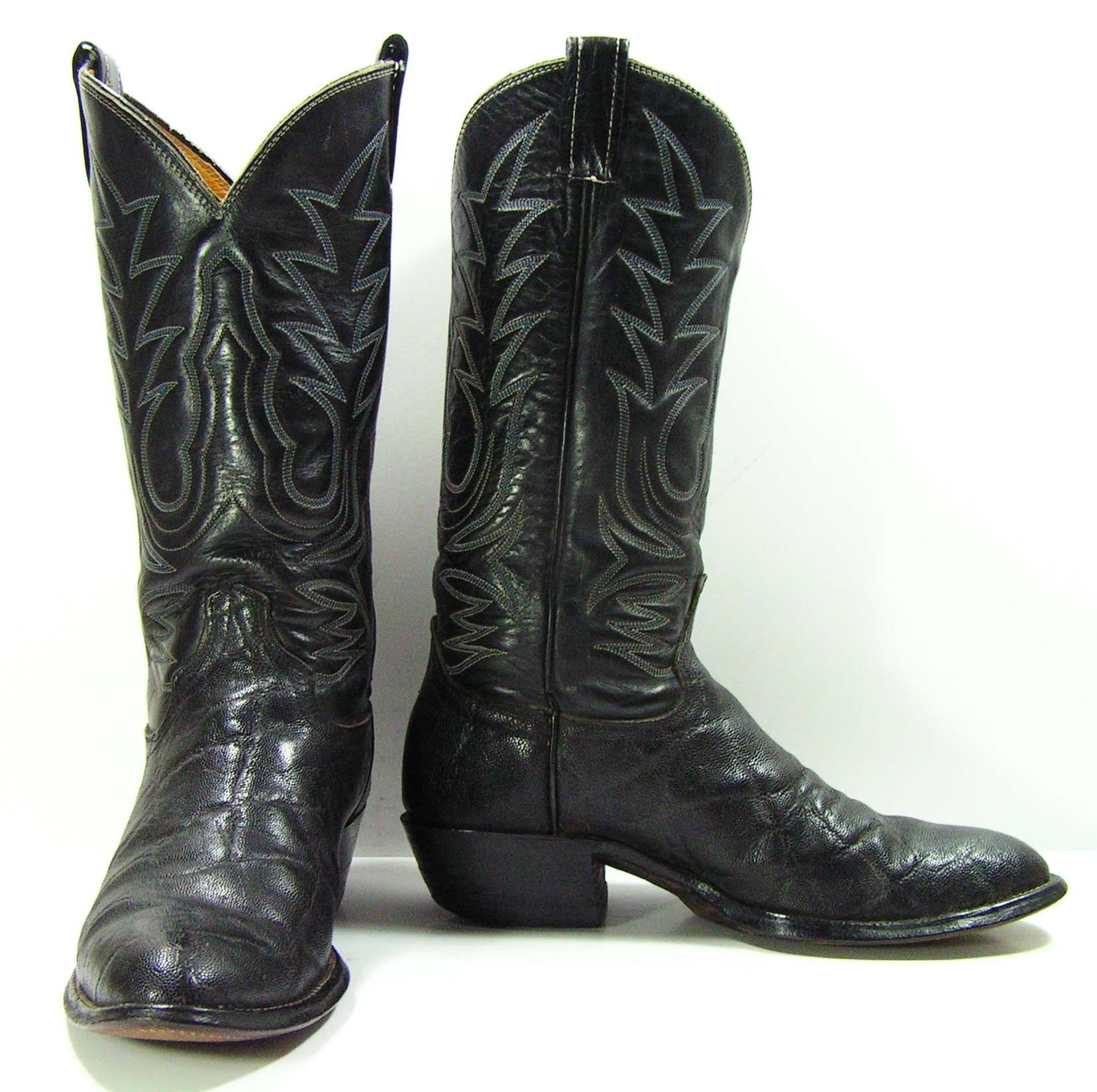 Vintage Cowboy Boots Mens 9 D Black Western Elephant Skin