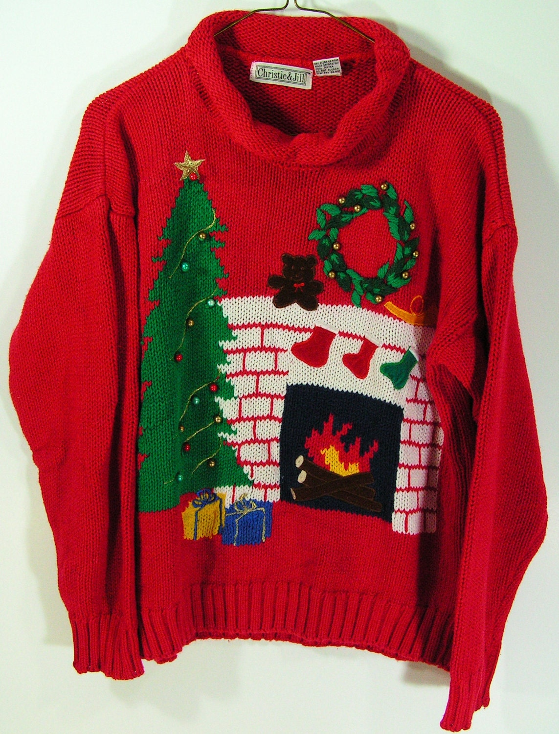 ugly christmas sweater womens medium red fireplace tree mens