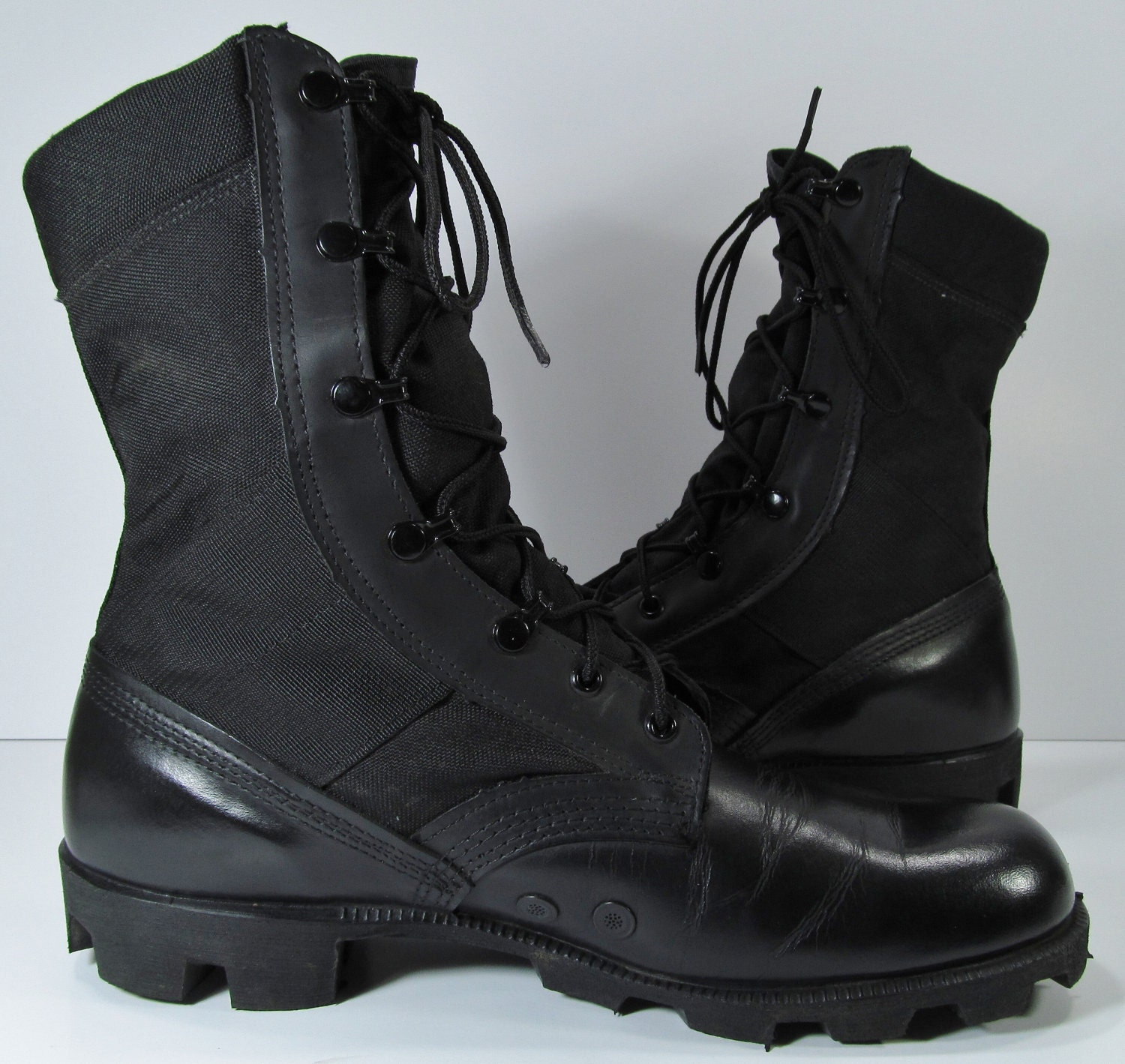 vintage combat boots mens 10 D R black military by moivintage