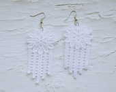 CLEARANCE Romantic Lace Earrings - Meghana in White