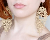 Lace Earrings - Orabella in Gold - Bridal Earrings - Metallic Lace Bridesmaid Jewelry