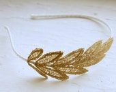 Gold Lace Headband - Ariadne - Gold Lace Bridal Hair Piece Bridesmaid Fascinator - For Her