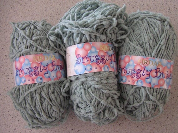 DISCONTINUED Sirdar 'Snuggly Bubbly' Yarn - 3 Skeins in Putty Green FREE SHIPPING