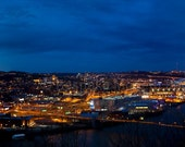 The Blue Hour - Pittsburgh at Night - Panorama 12x48""