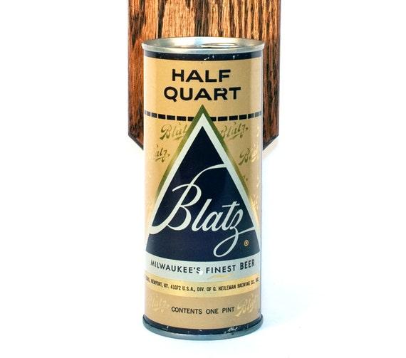 Wall Mounted Bottle Opener with Vintage Beer Can Cap Catcher - Blatz Beer 16oz