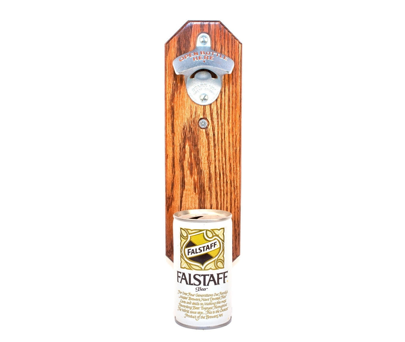 Bottle Opener With Wall Mounted Falstaff Beer Can Cap Catcher