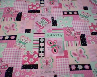 Pink and Black brother and Sister design butterly - 1/2 yard