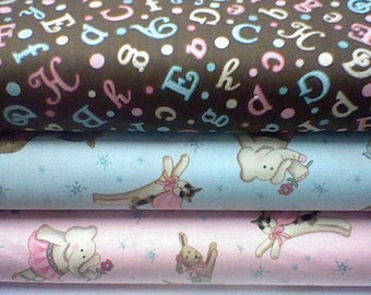 David Textiles Fanciful of friends pink and blue bundle fat quarter yard each