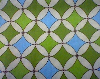1 yard of Green and Blue diamond Argyle fabric