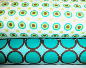 Michael Miller Large Ditto Dots and Turquoise Ring Dot - 1/2 yard each