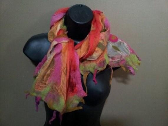 Summer Garden in Capri Nuno Felted Silk Shawl -Wrap -Scarf