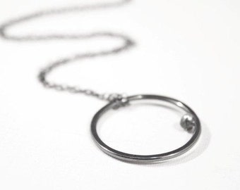 Minimalist Silver Circle Necklace, Black Hoop Pendant Necklace, Modern Rustic Geometric Necklace, Sterling Silver Necklace-Cadence Necklace