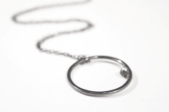 Rustic Oxidized Sterling Silver Circle Hoop Pendant Necklace, Modern Artisan Necklace by Eko Wright - Cadence Necklace