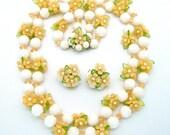 Vintage Necklace Set 1950s Signed Hong Kong White Rose Beads & Plastic Leaves