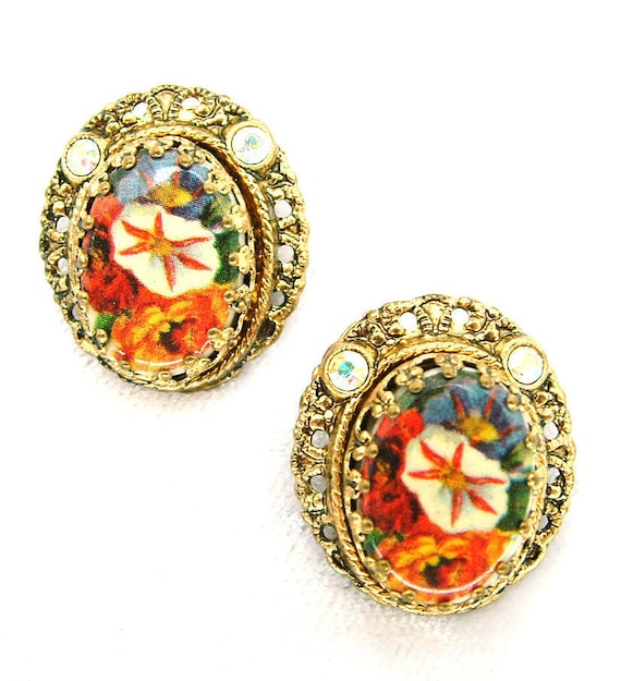 Vintage Earrings W. Germany Florals Under Raised Glass In An Ornate Setting