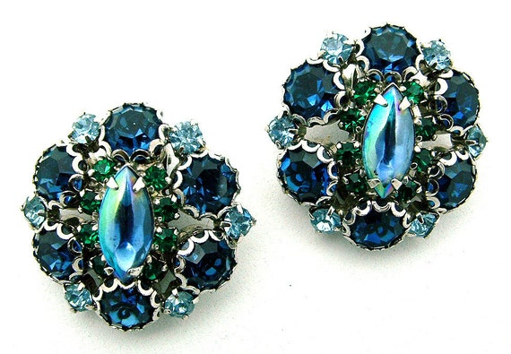 Vintage Rhinestone Earrings 1950s Blue and Green Irridescent Center