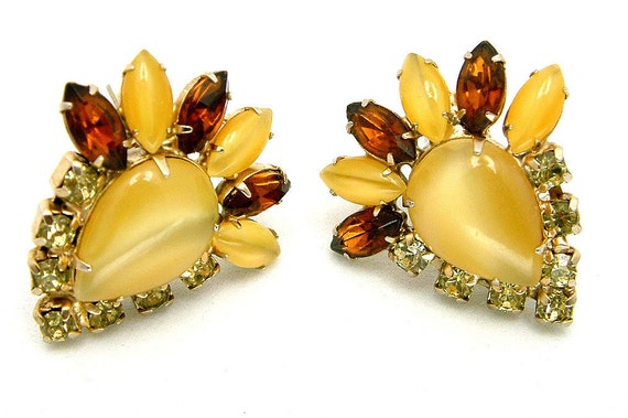 Vintage Earrings Butterscotch Moon Glow and Rootbeer Rhinestones
