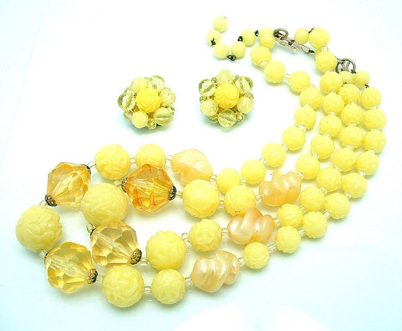 Vintage 1950s Necklace Set GERMANY Beaded Double Strand and Cluster Earrings