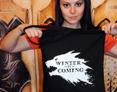 Winter Wolf cotton tote bag