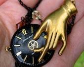 Art Deco Clock & Hand Necklace