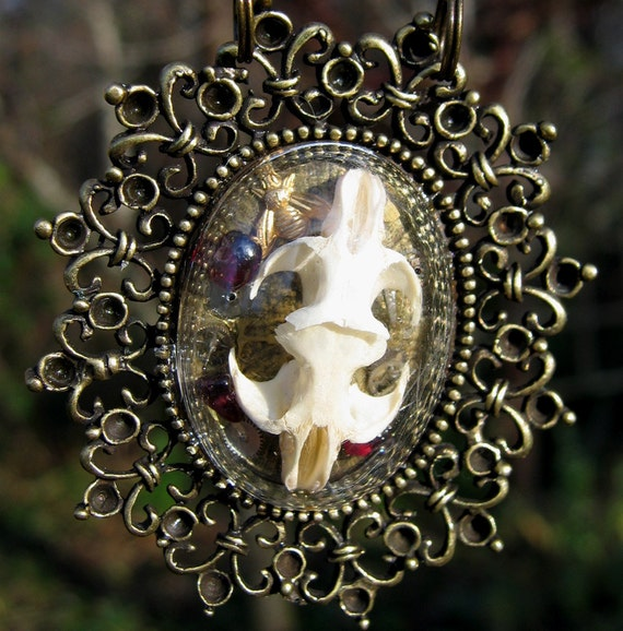 Conjoined Mouse Skulls in Brass Shadowbox Necklace