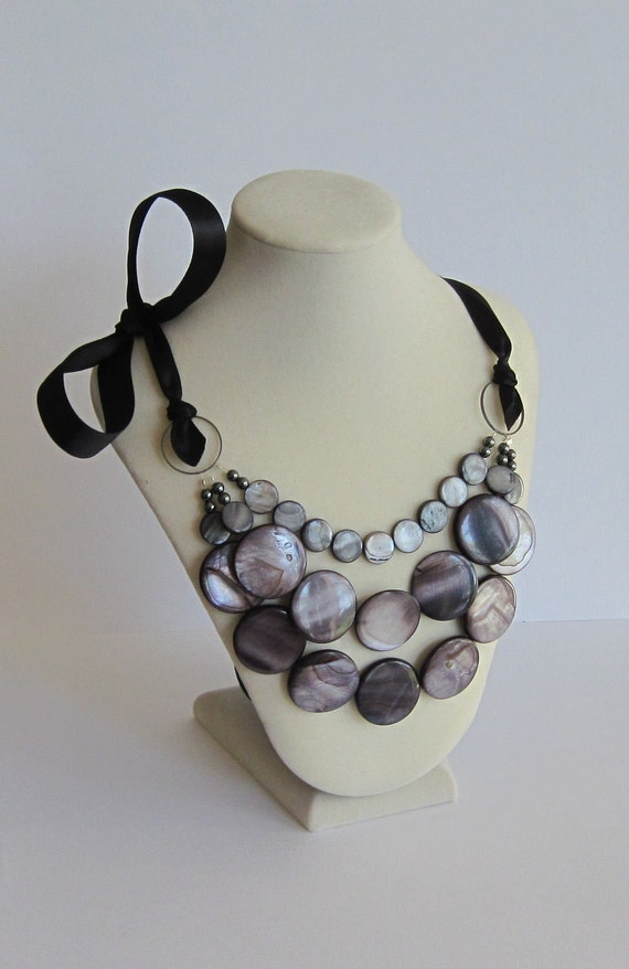 Bib Necklace with Black Self Tie Ribbon Runway Necklace Ribbon Jewelry