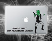 Greedo shot first Han solo laptop decal