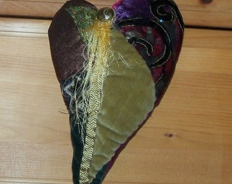 Heart Velvet  Handmade Elegant Plush Velvet and Silk quilted my own design