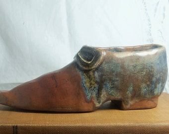 shoe planter unique hand formed sculptured baked glazed by Virginia Proffit Crane
