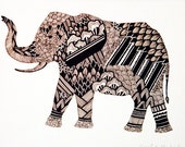 Elephant: Original Artwork, ink line drawing.
