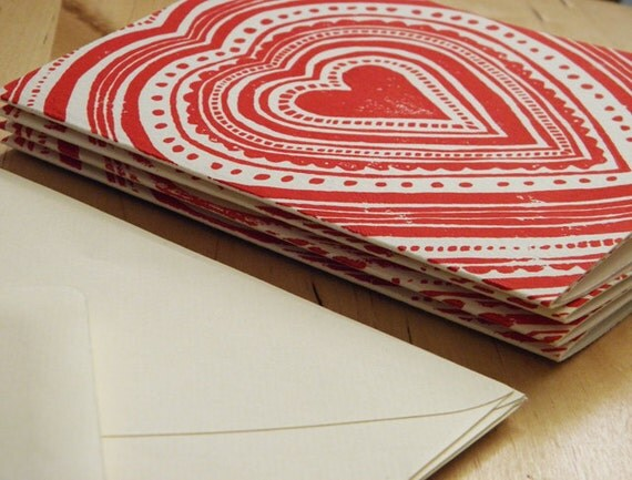 Card Set - Red Heart Block Print