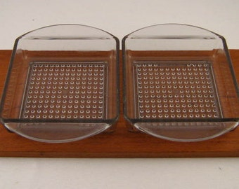 Mid Century Danish Modern Teak Condiment Tray with Plastic Dishes Made in Denmark  by Luthje