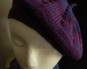 2 Beret pattern options - Plain or Striped, includes knit in the round information, in pdf format