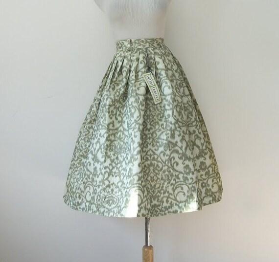 Vintage 50s Leaf Print Full Skirt
