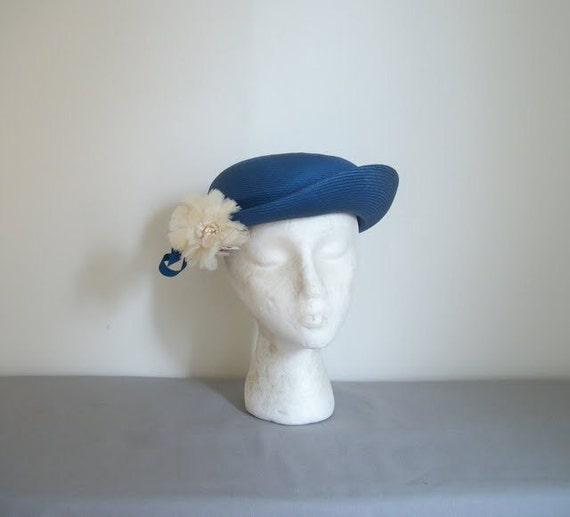 Vintage 50s Blue Flower Hat