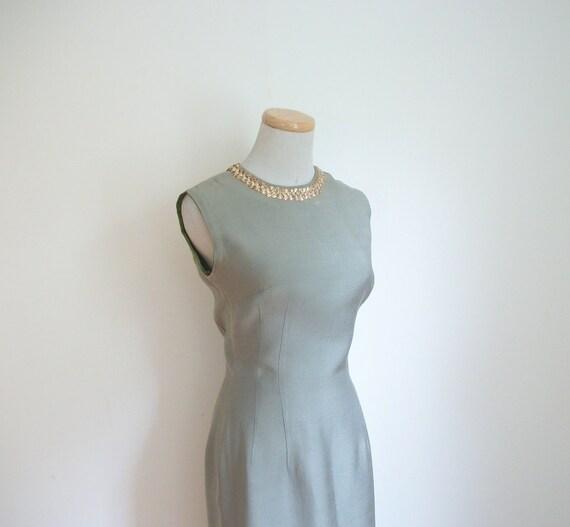 Vintage 50s Sage Gold Wiggle Dress