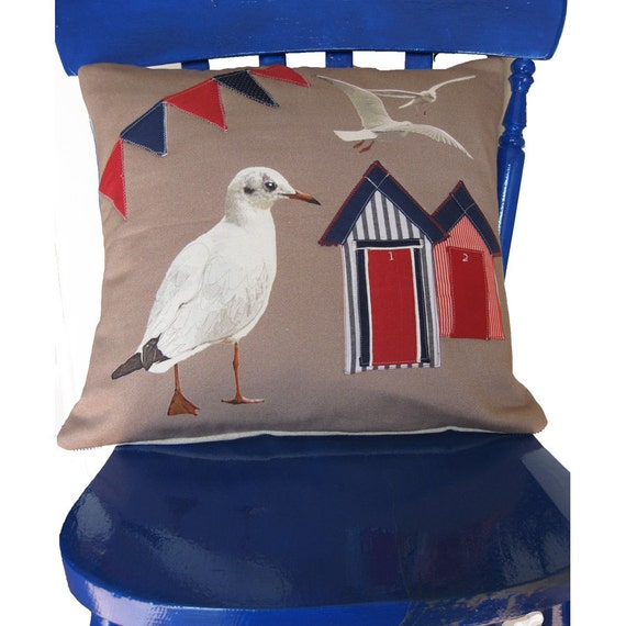 Handmade Cushion Cover Seaside Appliqued Beach Huts Herring Gull
