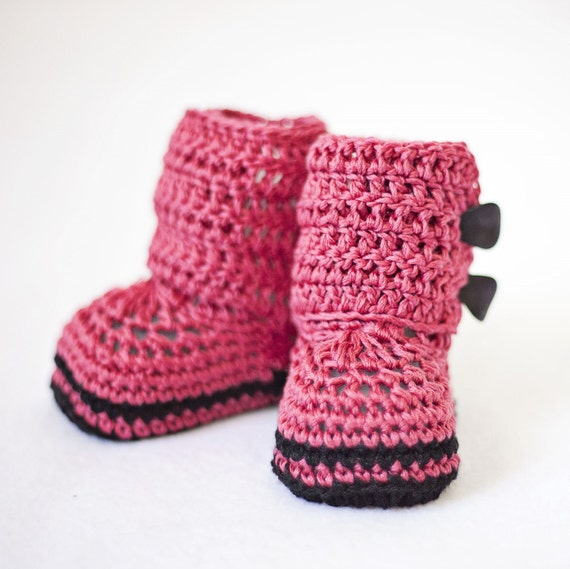 Special Price - Crochet Baby Booties - Baby Ankle Boots ready to wear (0-3 months)