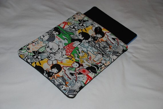 Elastic with button closure iPad Case iPad sleeve iPad cover Tomodachi design extra wide