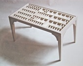Handmade coffee table with a letterpress type tray top that can display collectibles
