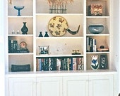 Custom carpentry, wall unit with adjustable shelves, lower cabinets, display, storage, and book shelves