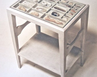 Custom wood end table, bedside table, with a lower bookshelf and a reclaimed printer's type box on top for displaying collectibles and more.
