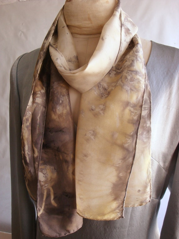 Silk Scarf  Eco Fashion - Naturally Dyed with Willow -- FC 111411