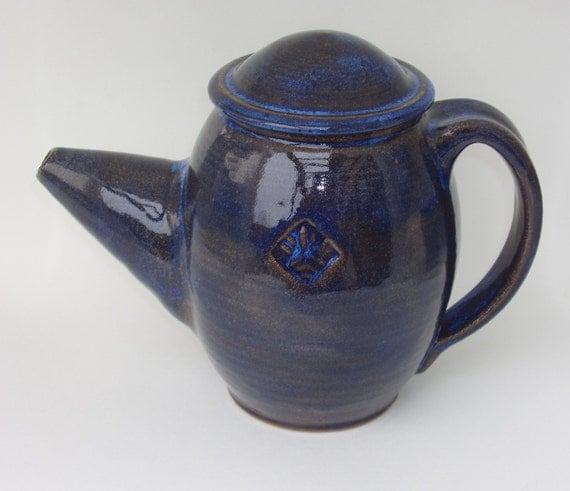 Sapphire Blue and Brown Teapot