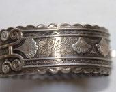 English Victorian vintage sterling silver bangle bracelet