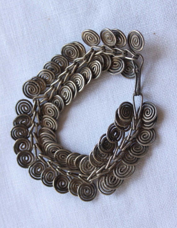 swirl sterling vintage metal wrapped bracelet