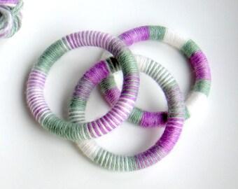Yarn wrapped bangle set lavender
