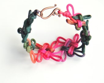Knotted rainbow bracelet with Chinese good luck knots