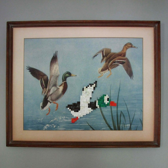 Recycled Book and Vintage Print 8-bit Art - Duck Hunt